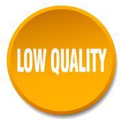 low quality orange round flat isolated push button - stock illustration