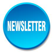 newsletter blue round flat isolated push button - stock illustration