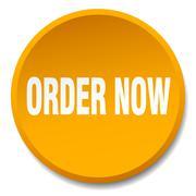 Order now orange round flat isolated push button Stock Illustration