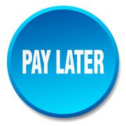 Pay later blue round flat isolated push button Stock Illustration