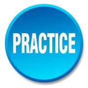 practice blue round flat isolated push button - stock illustration