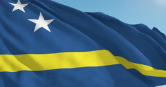 Beautiful looping flag blowing in wind: Curacao Stock Footage