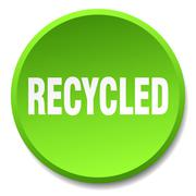 recycled green round flat isolated push button - stock illustration