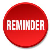 reminder red round flat isolated push button - stock illustration