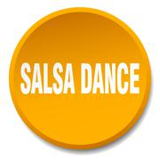 salsa dance orange round flat isolated push button - stock illustration
