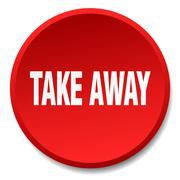 take away red round flat isolated push button - stock illustration