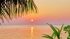 Beautiful sunrise on a tropical island in the Maldives. . Stock Footage