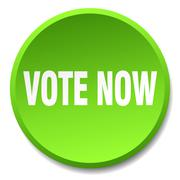 Vote now green round flat isolated push button Piirros