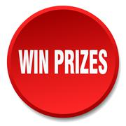 win prizes red round flat isolated push button - stock illustration