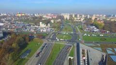 Lublin - the central street. Aerial Footage 02 Stock Footage