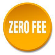 zero fee orange round flat isolated push button - stock illustration