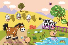 cartoon farm animals in the pasture at evening - stock illustration