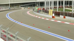 Test drive the car. Formula 1 track. Auto racing - stock footage
