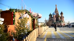 Moscow, Russia - View of  Kremlin from Vasilyevsky Spusk Stock Footage