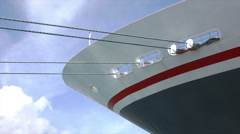 Fred Olsen logo and ship's bow, Balmoral cruise ship Stock Footage