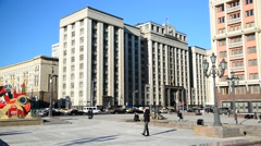 Moscow, Russia - View of State Duma from  Manezhnaya Square Stock Footage