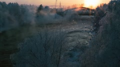 Hard frost. Beautiful snow. Sunset. Bridge. Rough River. - stock footage