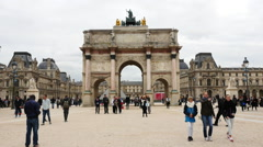 Time Lapse - Arc De Triomphe Du Carrelousel - Paris France Stock Footage