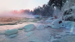 Snow. Sunset in the winter . Snowstorm . Crossing the river . Thresholds River. Stock Footage