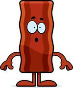 Surprised Cartoon Bacon Strip - stock illustration