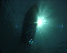 Freedivers entry on boat on the surface, UP8146 Stock Footage