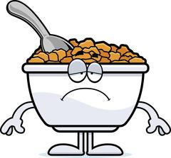 Sad Cartoon Cereal - stock illustration