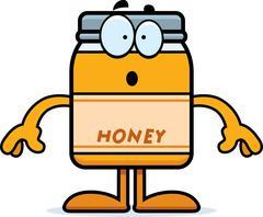 Surprised Cartoon Honey Jar - stock illustration
