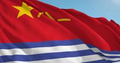 Beautiful looping flag blowing in wind: Hong Kong Sar Naval Patrol Stock Footage