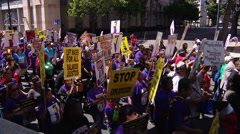 Protesters demanding $15 an hour in San Diego - stock footage