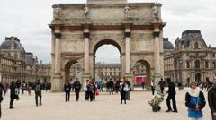Time Lapse Zoom - Arc De Triomphe Du Carrelousel - Paris France Stock Footage