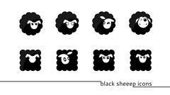 Stock Illustration of black sheep icons