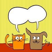 Cat and dog Stock Illustration