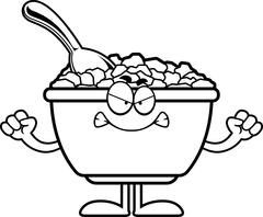 Angry Cartoon Cereal - stock illustration