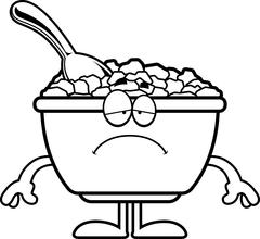 Sad Cartoon Cereal Stock Illustration