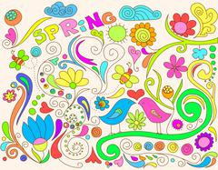 Colorful spring doodle - stock illustration