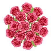 top view of red roses in glass vase isolated on white background. 3d illustra - stock illustration
