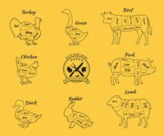 Set Schematic Vew of Animals for Butcher Shop Stock Illustration