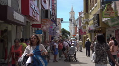 Tourists and local people in Ilheus, Brazil - stock footage