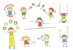 Juggling kids - stock illustration