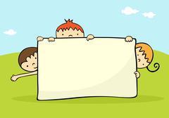 Kids banner - stock illustration