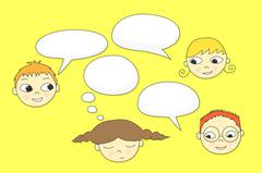 Kids Talking - stock illustration