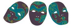 Carnival masks - stock illustration