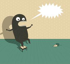 Monster scared by mouse - stock illustration