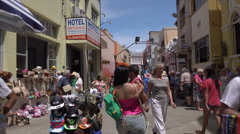 Tourists and local people shop in Ilheus, Brazil Stock Footage