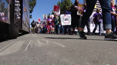 Protesters demanding $15 per hour in San Diego - stock footage