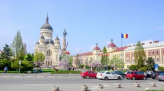 Avram Iancu Square in Cluj-Napoca Stock Footage