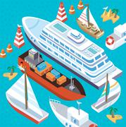 Isometric Set Ships. Sea Transport Piirros