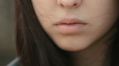 Close up eyes and lips of beautiful brunette Stock Footage