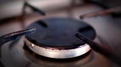 Close up video of the gas burner on a gas stove - stock footage