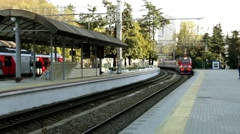 Railway station in Sochi. Train Station. The arrival of the train - stock footage